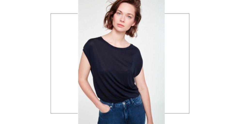 Womens Black Tencel T-Shirt