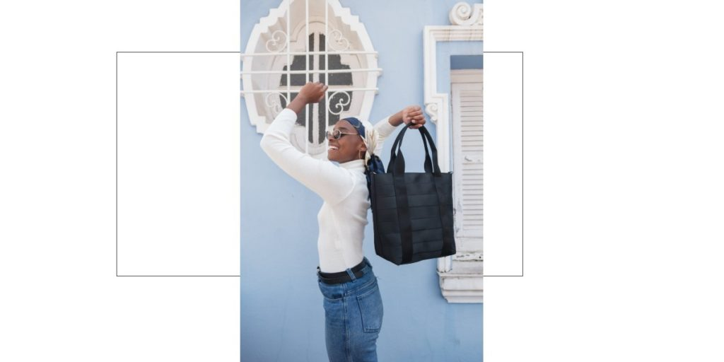 Womens Black Tote Recycled Seatbelts