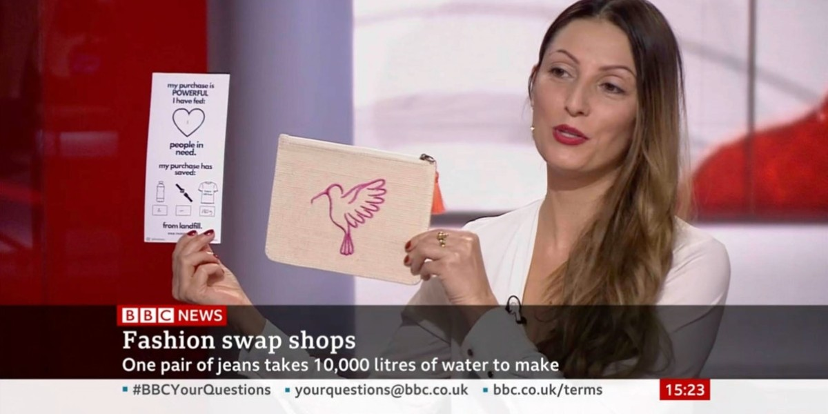 Roberta-Lee-Founder-of-Ethical-Brand-Directory on the BBC showing off From Belo