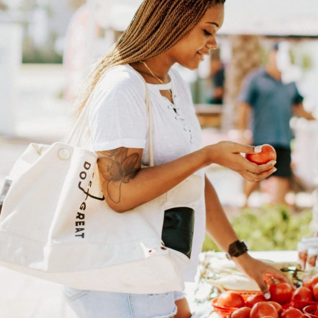 How to reduce your single use plastics   Reusable shopping bags   Maha Loka Tote Bag   Cloth bag alternatives to plastic