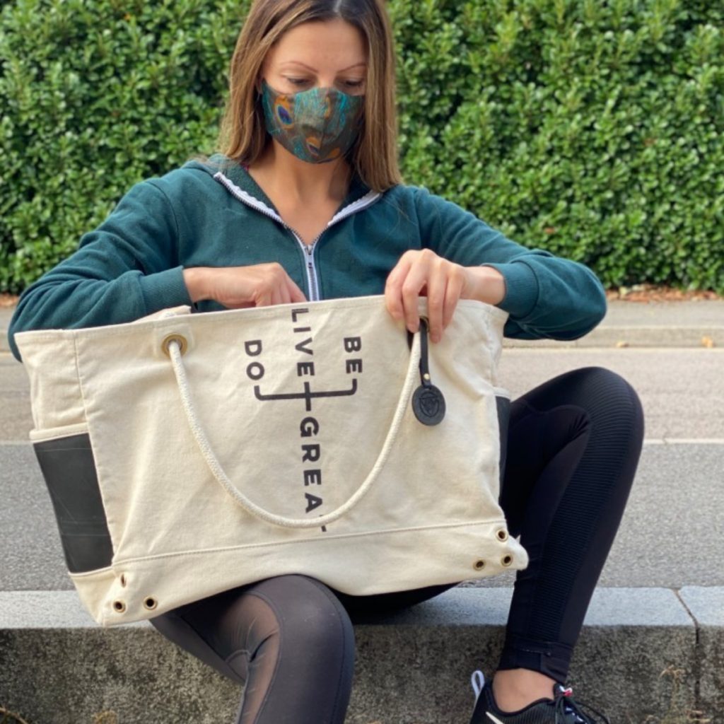 Ethical Brand Directory Blog   Do Great Tote by Maha Loka modeled by Roberta Lee