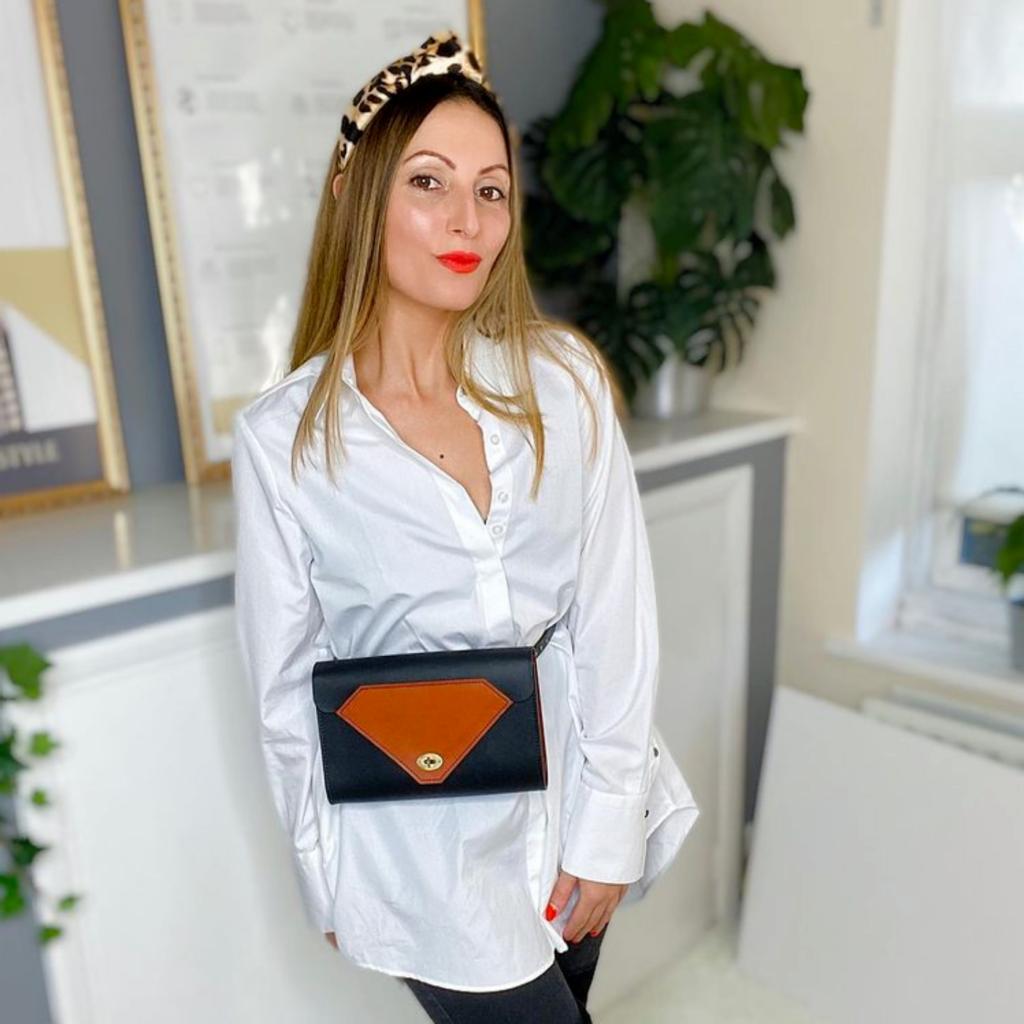 Ethical Brand Directory Blog   Tatum Diamond Whitley Belt Bag modeled by Roberta Lee