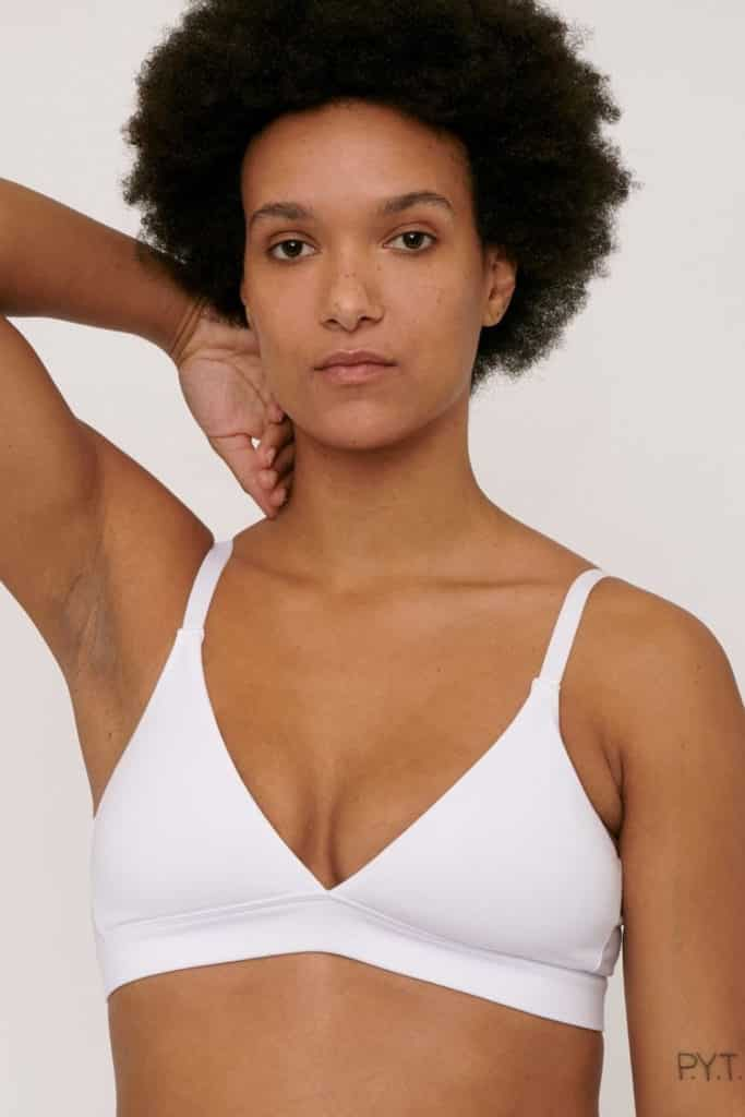 Organic Basics, organic cotton triangle bra in white. Don't forget to use our discount code 'ETHICALOB' for 10% off at checkout.