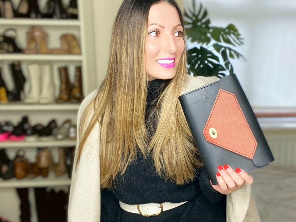 Repurposed Waste Leather Clutch Bag in brown and black by Tatum Diamond London | Sustainable Styled with Preloved Clothes by Roberta Lee, The Sustainable Stylist