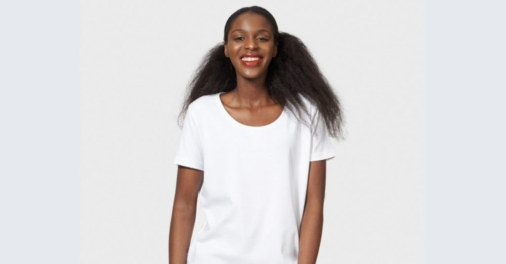 Ethical Brand Directory Blog   How is a white t-shirt made   The White T-Shirt Company   Model wearing white t-shirt from The White T-Shirt Company