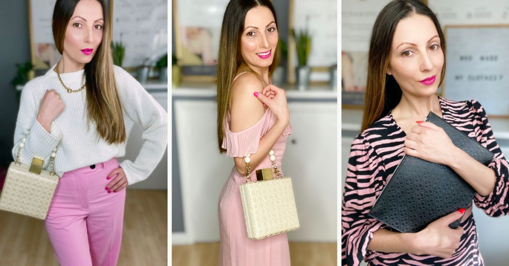 Ethical Brand Directory Blog | Building A Sustainable Summer Wardrobe | Roberta Lee wearing pre-loved pink trousers and white jumper with Soli and Sun handbag. Roberta Lee wearing a pink maxi dress from Reformation and Soli and Sun handbag.  Roberta Lee wearing a pink and black Ganni dress and  Priestleys clutch.