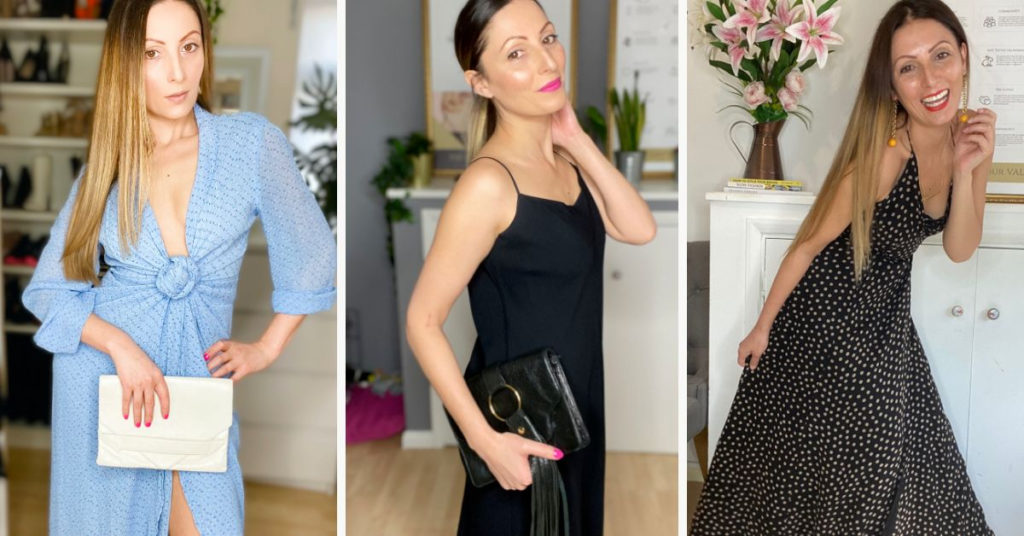 Ethical Brand Directory Blog | Building A Sustainable Summer Wardrobe | Roberta Lee wearing pre-loved blue maxi dress. Roberta Lee wearing pre-loved black maxi dress and pre-loved black clutch bag. Roberta Lee wearing pre-loved poka-dot maxi dress