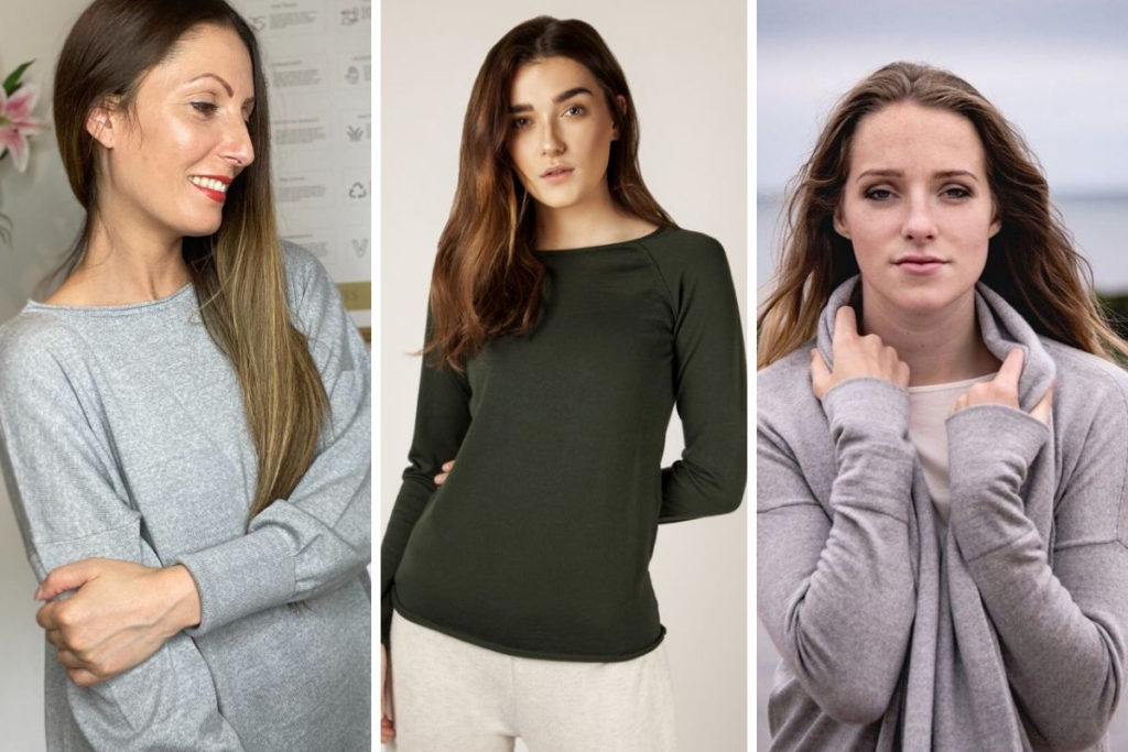 Ethical Brand Directory Blog   Stylists Picks: Spring Wardrobe Essentials  Flock by Nature   Roberta Lee wearing the Eloise Merino Jumper in grey by Flock by Nature. Model wearing Phoebe Merion Raglan top by Flock by Nature. Model wearing the Kate Merino cardigan by Flock by Nature.