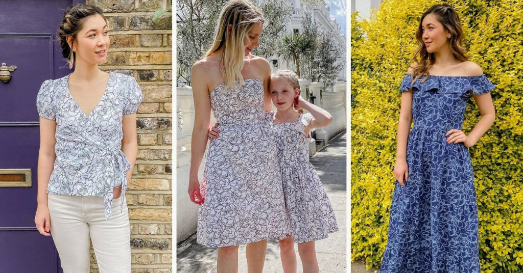 Ethical Brand Directory Blog   Stylists Picks: Spring Wardrobe Essentials   Model wearing the floral wrap top. Jenny and her daughter modeling the hope prom dress and floral girls prom dress. Model wearing the transformation maxi dress