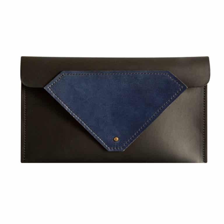 Tatum Diamond London _ Product Shots Ethical Brand Directory & Boutique _ Zero Waste Luxury Bags & Accessories   Blue & Black Slim Leather Belt Bag & Clutch