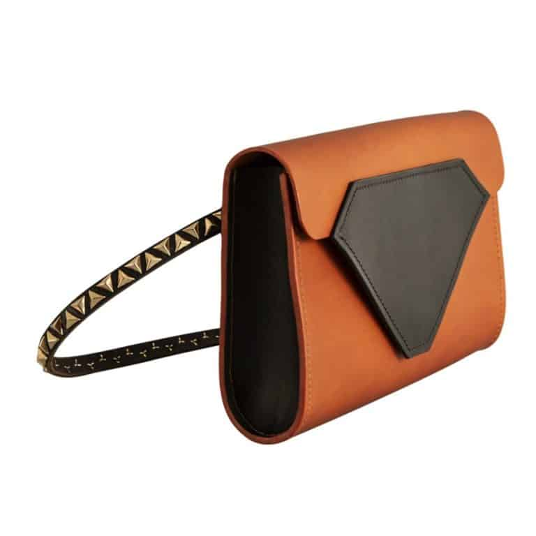 Tatum Diamond London _ Product Shots Ethical Brand Directory & Boutique _ Zero Waste Luxury Bags & Accessories   Tan & Black Leather Belt Bag & Clutch