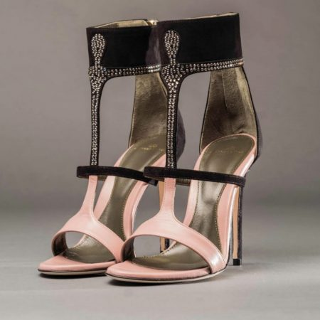 Anthony Stoker Luxury Footwear | Womens Reverence Pink Black Diamante Heel | Ethical Brand Directory