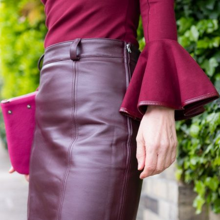 Distinctively Me | Womenswear Burgandy Tailored Skirt | Ethical Brand Directory