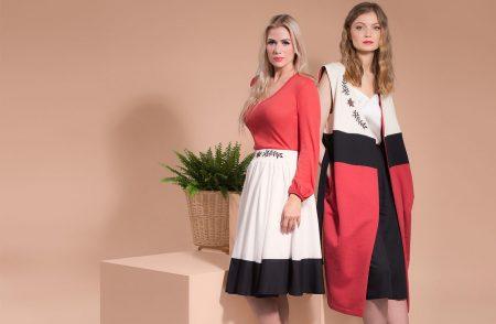 Ethical Brand Directory Blog | KiRiVOO Brand Founder Interview | KiRiVOO models in Embroidered Simone Skirt and Sleeveless Coat