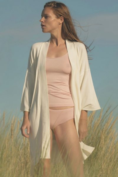 Ethical Brand Directory _ Feature Image Pinterest _ Agatinia Lingerie _ White Robe _ Pink Vest & Underwear Set