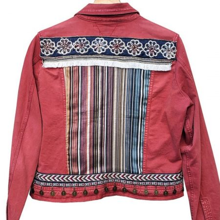Anyo Stories - Red Denim Jacket - Sustainably made   Ethical Brand Directory