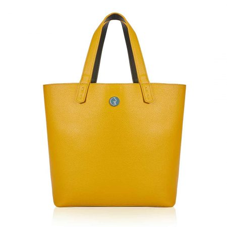 tote reversed green pepper and mustard